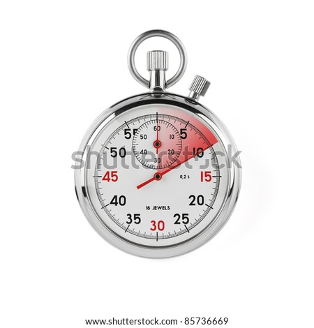 Stopwatch on white background with clipping path