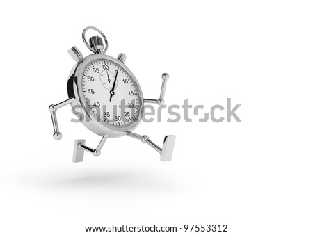 Stopwatch with arms and legs that runs on white background.