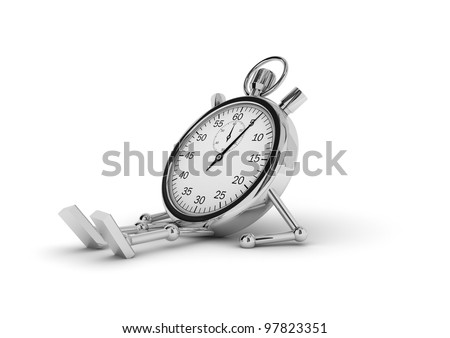 Stopwatch with legs and arms lying on a white background.