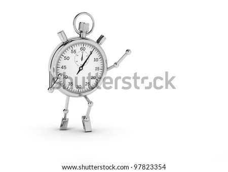 Stopwatch with legs and arms that exults on a white background.