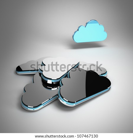 Storage backup concept: active blue metallic cloud in front of inactive clouds 3d render