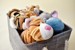 Storage basket for organizing children's and toddler's toys and plush animals for simple and easy use