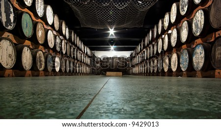 storage cellar with a lot of wine barrels.. well i dont know if its wine, might also be some other kind of alcohol