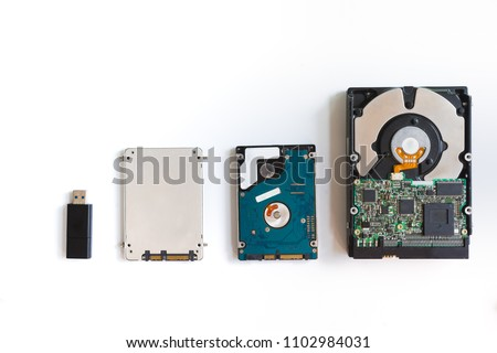 Storage device such as Hard disk drives, External hard drive, USB flash drive and Solit state drive on white background.