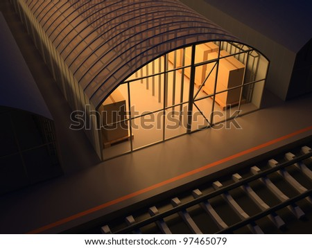 Storage facilities. Warehouse of commodity. 3d render illustration