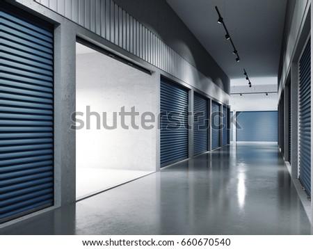 Storage facilities with blue doors. Opened door. Light inside.. 3d rendering