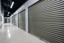 Storage facilities with gray doors. Moving, storage concept.
