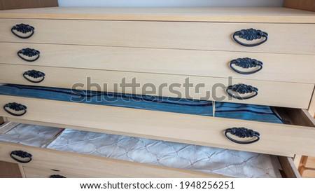 Storage of Japanese kimono. Paulownia chest. Stock fotó ©