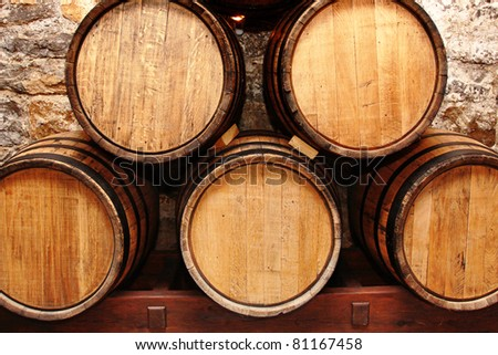 storage of oak wine barrels in a cellar