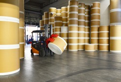 Storage of paper rolls in a large print shop