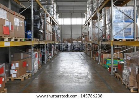 Storage shelving system in distribution warehouse