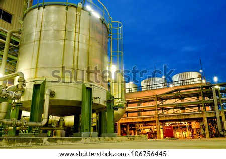 Storage tank and cooling tower in petrochemical plant
