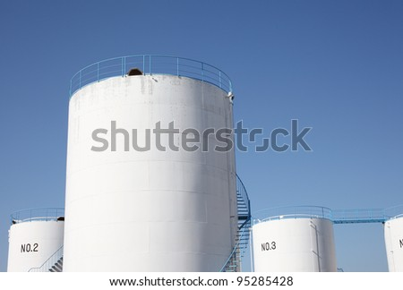 Storage tanks in a refinery plant