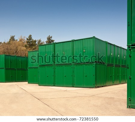 Storage units made up of green cargo containers