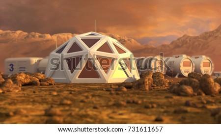 Storage warehouse. The colony on Mars. Autonomous life on Mars. 3D rendering
