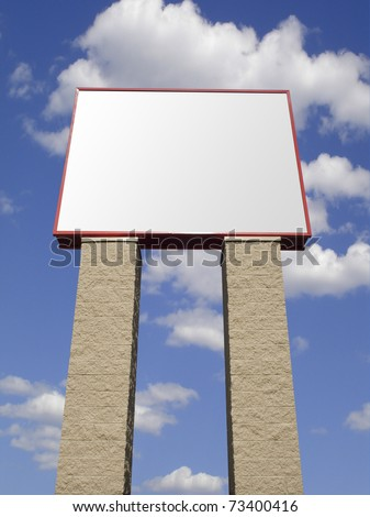 Store advertising sign in stone over cloudy sky, isolated with clipping path