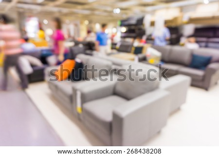Store blur background with people, Furniture store
