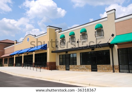 Store Fronts in New Shopping Center