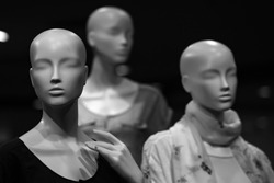 store mannequins. fashion mannequin dressed in fashionable cloth on shop, boutique or mall display