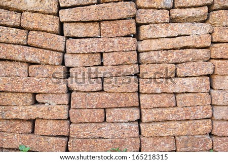 Store of bricks ready for building or sale. Construction materials and outdoor storage.