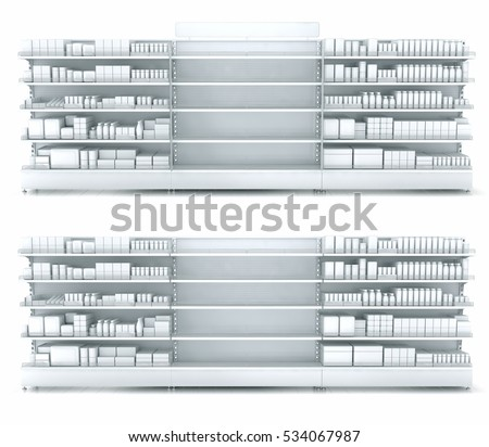 Store shelves with empty department for your goods. 3d illustration set isolated on white.