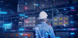 Store warehouse inventory fulfillment management AI technology, computer engineer control smart factory with artificial intelligence tech futuristic industry technology ideas.
