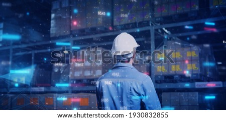 Store warehouse inventory fulfillment management AI technology, computer engineer control smart factory with artificial intelligence tech futuristic industry technology ideas. Stock photo ©