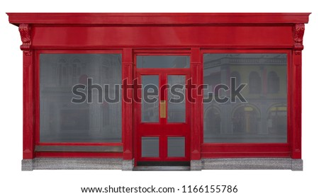 Storefront facade with red front view in wood. Two shop windows and a door in the middle isolated on white background