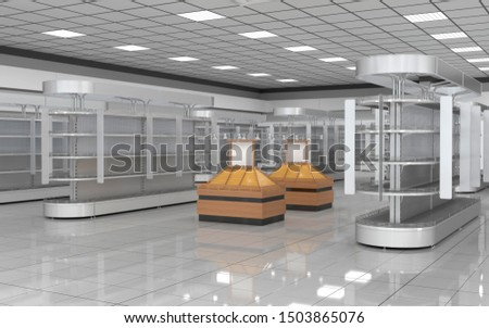 Storefront with open display cases and displays for fruits. 3d illustration