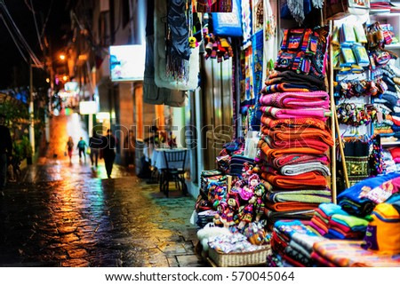 Shutterstock Storefronts and wet sidewalk in Aguas Calientes, Peru, launching