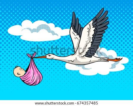 Stork bird brings baby pop art retro raster illustration. Birth metaphor. Comic book style imitation.