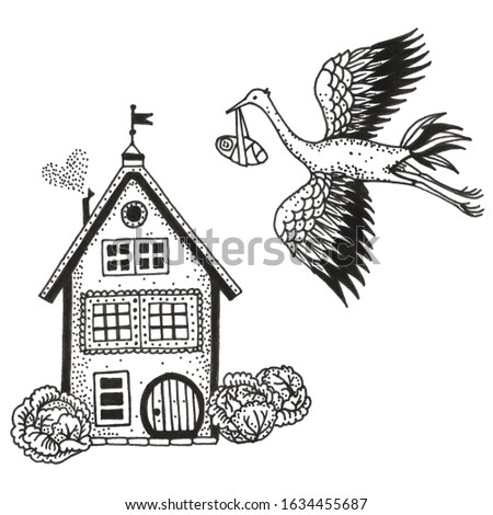 Stork carries a baby in cabbage, black and white illustration Сток-фото ©