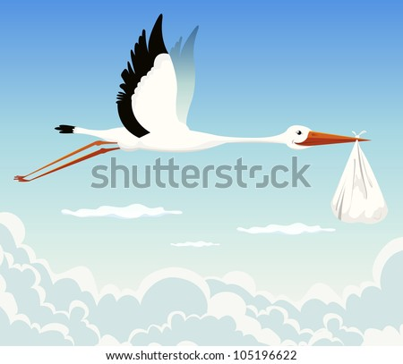 Stork Delivering Baby/ Illustration of a stork delivering baby in a bag for birth announcement, newborn  holidays celebration and anniversaries
