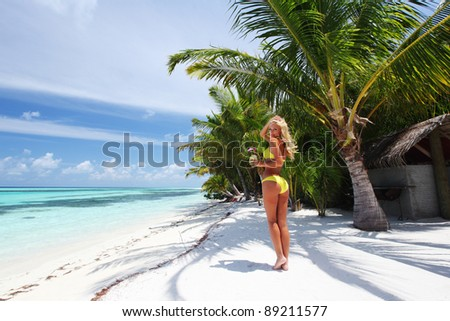 Stork on the ocean coast - stock photo