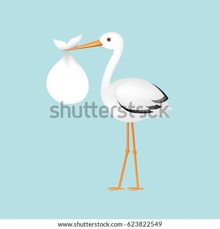 Stock Photo Stork With Baby