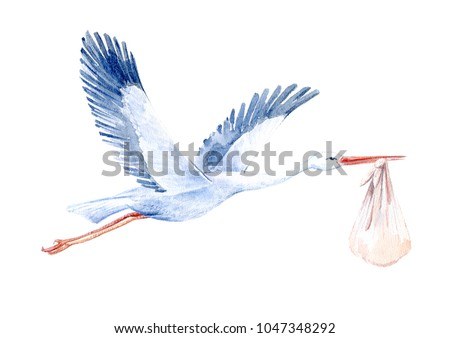 Stork with baby.Newborn picture. Watercolor hand drawn illustration.White background. Foto d'archivio ©
