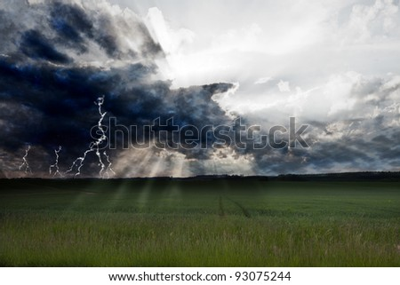 Storm and lightning - stock photo