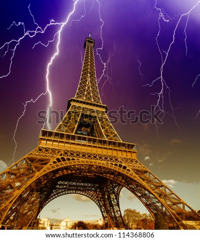 Storm and Lightnings over Tour Eiffel in Paris
