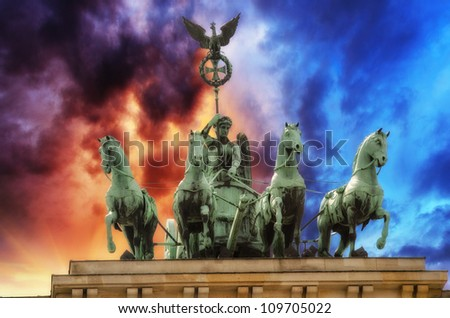 Storm approaching Berlin and Brandenburg Gate, Germany