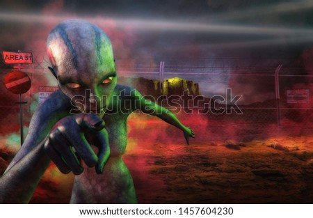 Storm Area 51, Secret U.S. Air Force military top secret installation in US, Nevada event illustration. Rescue the aliens in restricted Area 51 base storm raid, They Can't Stop All of Us 3D concept.