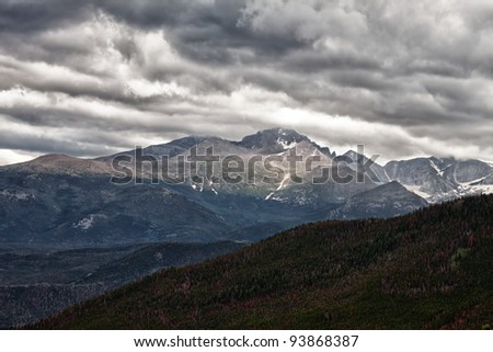 Storm at Longs Peak in Rocky Mountains, Colorado - stock photo