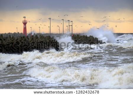 Storm at sea, Baltic coast, Kołobrzeg, Poland.