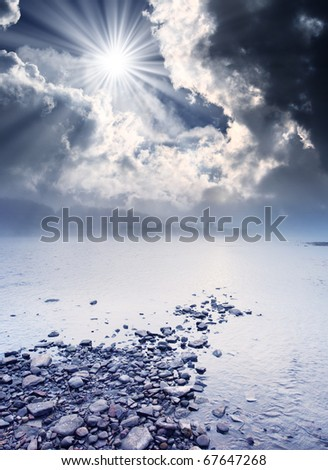 Storm clouds and beautiful landscape with the river