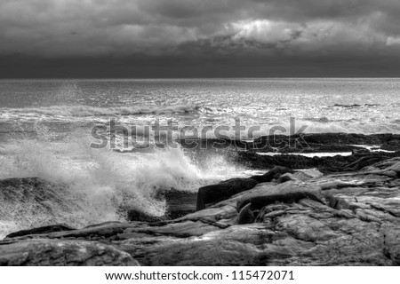 Storm clouds and waves along the Atlantic coast of Nova Scotia