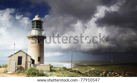 Storm clouds approaching Vlamingh Lighthouse in Exmouth, Western Australia.