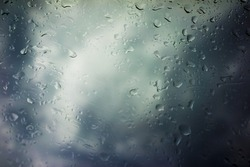 Storm Clouds Background, Drops of Rain on Glass, Rain Drops on Clear Window, Drops Of Rain On Glass Background, Autumn Abstract Backdrop, Clouds Backgrounds with Water Drops,Storm Weather Background