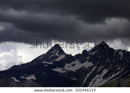 Storm clouds in mountains. Caucasus Mountains. Georgia, Svaneti.