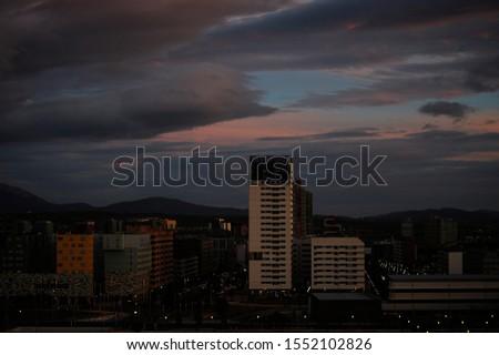 Storm clouds in the light of dawn on a dawn of early spring days. Vitoria-Gasteiz (Alava) Basque Country, Spain: salburua neighborhood #1552102826
