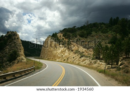 Storm clouds on Highway, Colorado