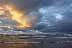 Storm Clouds Over a Lake Huron Beach at Sunset - Grand Bend, Ontario